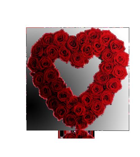 Coração de rosas aberto