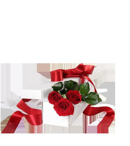 Caixa Branca com Três Rosas Vermelhas